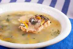 Canned pink salmon soup. White plate with soup from canned pink salmon Stock Images