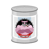 Canned pork. Canned food from a serious and strong pig. Steel Ba Stock Photo