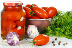 Canned, preserves tomatoes,  in the pot a Royalty Free Stock Images