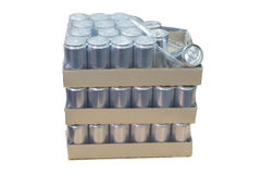 Canned production in carton box Stock Photography