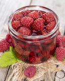 Canned Raspberries Stock Photo