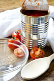 Canned raw food and tomatoes Royalty Free Stock Photos