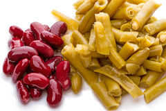 Canned red and green beans Royalty Free Stock Photos