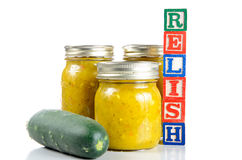 Canned Relish. Home grown cucumbers made into relish, isolated on white Royalty Free Stock Images