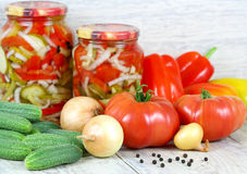 Canned salad and fresh vegetables. Homemade Stock Image