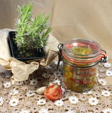 Canned salad in a glass jar Stock Photo