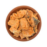 Canned salmon in a small dish top view Stock Photo