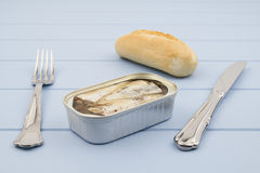Canned sardines Royalty Free Stock Images