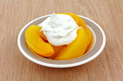 Canned Sliced Peaches Whipped Topping Stock Images