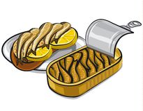 Canned smoked sprats. Illustration of canned smoked sprats in oil with bread and llemons Stock Photo
