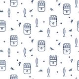 Canned sprats line icon seamless vector pattern. stock illustration