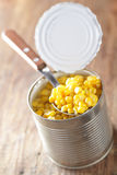 Canned sweet corn. In the jar closeup Stock Photos