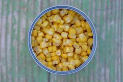 Canned sweet corn in a tin can. Top view stock images