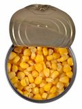 Canned sweet corn in a tin can. Stock Images