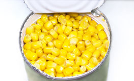 Canned sweet corn in a tin can royalty free stock photos