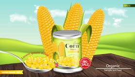 Canned sweet corn Vector realistic. Metal tin. Product package mock up. Label design. 3d detailed illustrations. Canned sweet corn Vector realistic. Metal tin royalty free illustration