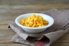 Canned sweet corn in a white bowl Royalty Free Stock Photo