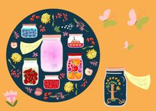 Canned Time. Allegorical vector illustration. Summer night and summer scents like canned in glass jars. Among other jars with canned fruit jams, vegetables and royalty free illustration