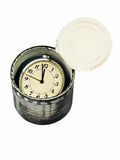 Canned time concept.Time preserved in tin can isolated on white. Royalty Free Stock Image