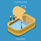 Canned tinned fish preserve fishing flat isometric vector 3d Stock Photos