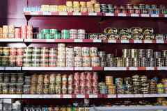Canned and tinned products in Russian food store Royalty Free Stock Photo