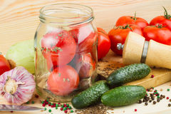 Canned tomatoes and cucumbers Stock Images