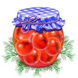 Canned tomatoes. Tomatoes in a glass jar. Twist red tomatoes Stock Photo