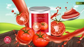 Canned tomatoes Vector realistic mock up. Product placement. 3d detailed illustrations. Canned tomatoes Vector realistic mock up. Product placement. 3d detailed stock illustration