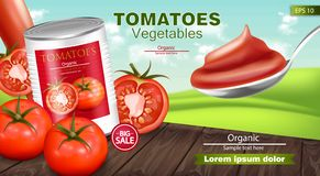 Canned tomatoes Vector realistic mock up. Product placement. 3d detailed illustrations. Canned tomatoes Vector realistic mock up. Product placement. 3d detailed vector illustration