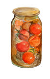 Canned tomatoes watercolor Stock Images