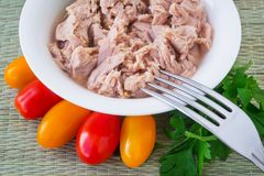 Canned tuna fillet in white porcelain bowl, fork, parsley and some cherry tomatoes on a green table mat made of natural plant. Fibers. Seafood, healthy eating stock photo