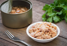 Canned tuna fish in bowl Royalty Free Stock Image