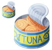 Canned tuna fish isolated on white background. Detailed Vector Icon. Series of food and drink and ingredients for cooking Stock Photo