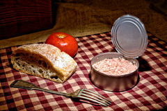 Canned Tuna Fish Lunch Vintage Style Stock Photo