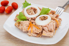 Canned tuna fish on white dish Stock Images