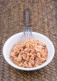 Canned Tuna Flake In A White Bowl III Royalty Free Stock Photos