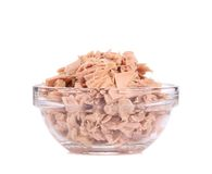 Canned tuna in glass bowl. Royalty Free Stock Photography