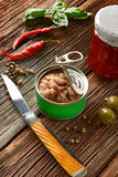 Canned tuna with other ingredients around Stock Photo