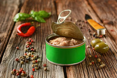 Canned tuna with other ingredients around Royalty Free Stock Photos