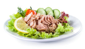 Canned tuna with vegetable salad Stock Photos