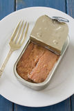 Canned tuna on white plate Stock Photo