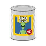 Canned UFO. Tin can alien. Vector illustration Stock Photos