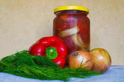 Canned vegetable salad. And the ingredients to it Royalty Free Stock Photography