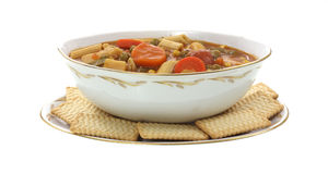 Canned Vegetable Soup and Crackers Royalty Free Stock Images