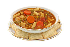 Canned Vegetable Soup Overhead View Stock Photo