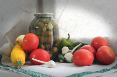 Canned vegetables Royalty Free Stock Photo