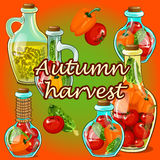 Canned vegetables in the fall, autumn harvest Royalty Free Stock Images