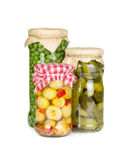 Canned vegetables in glass jars Royalty Free Stock Photography