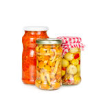Canned vegetables in glass jars Royalty Free Stock Image