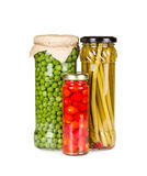 Canned vegetables in glass jars Royalty Free Stock Images